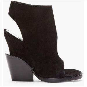 Theyskens' Theory Open Toe Leather Booties Sz 39.5